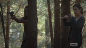 Michonne and Rosita watch, and listen, a moment more, but all is quiet...they bring their weapons down, and continue walking, cautiously, through the woods.