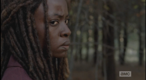 Michonne looks after Sasha's retreating form. She's been there, in the throes of grief, having lost everything in the early days of the turn...her baby son, her man, her best friend. And she has lost so many, so much, since...Michonne knows exactly what Sasha is going through right now, and she knows that Sasha needs to feel it, to ride it out, and decide on her own if she wants to continue on...