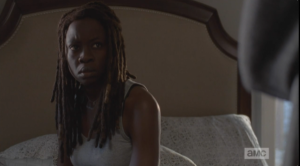 Michonne looks at Rosita, quick to grasp the gravity of that statement.