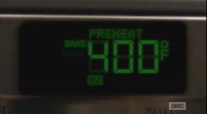 An oven preheats...