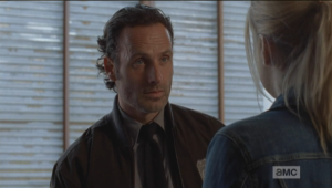 Rick's look says, Dude, because I'm falling in love with you. But, being a guy and all, he can't quite manage to find the words to answer her question, and so Rick says nothing.