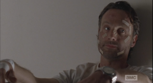 Rick looks over at Michonne after delivering this announcement. Wow, I guess no good deed goes unpunished, does it, Deanna Monroe?