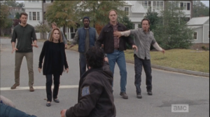 Rick pulls out his secret handgun, points it at Tobin and Nicholas, Deanna...Spencer's back there, like,