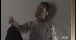 Rick takes this all in, his fingers working. How are you enjoying this nice little war you've started so far, Rick Grimes? Any 20/20 hindsight kicking in yet?