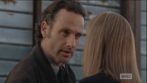 Rick Grimes, undaunted, tries to school Deanna in the ways of the new world order.