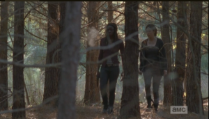 As they continue on through the woods, their breath frosting in the cold morning air, Rosita admits that this is the first time she's been out, beyond the walls, since they got to Alexandria.