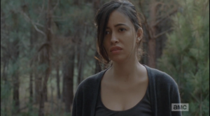 Sasha looks up and sees Rosita looking at her, sadly.  Sasha has been through so much, has lost so much in a short period of time...first Bob, then Tyreese...and Noah's death is affecting them all deeply. Rosita and Michonne know that Sasha's struggling right now.