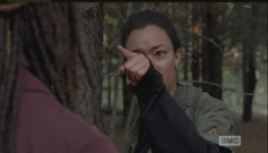 When in doubt, blame the big sister...Sasha glares at Michonne.