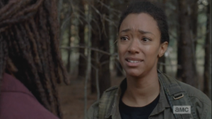 Sasha knows all this, on some level, and her anger starts to give way into its true form: grief. Her face softens as she looks at Michonne, grappling for the words.