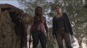 Michonne and Rosita stare down at the dead walkers. It definitely looks like Sasha's handiwork.