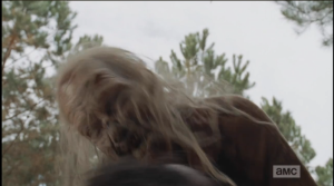 ...but White Walker gets the jump on Sasha and tackles her to the ground.