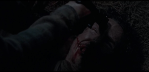 Glenn cocks the pistol, points it into the center of Nicholas's forehead, as Nicholas really starts to cry and beg.