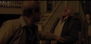 McBeaty pushes Reg, then slashes his throat with the katana.  Horrible.  Just horrible.
