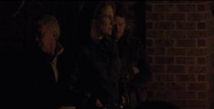Deanna Monroe's face looks grim as she waits with Reg, Spencer.