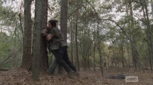 Glenn, being shot, has the definite disadvantage of being wounded, losing blood, but he manages to land some good shots at Nicholas...