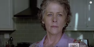 Carol's looking fierce, and ever watchful, in the kitchen...