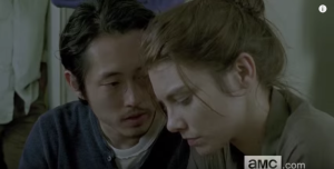 We see Glenn, leaning in towards Maggie, saying softly,