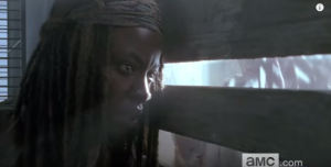 Next, we see a shot of Michonne's face as she peers through some slats...we see the shadowy movements of many figures on the other side of the barricade that Michonne is peering through...