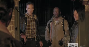 ...that horrible moment when Rick looks up from killing Pete and sees Aaron, Morgan, and Daryl standing there. Morgan looks up at Rick, stricken, manages one word,