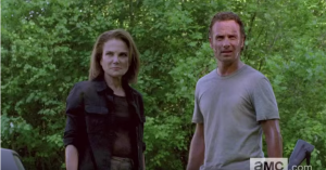 Deanna Monroe would be the first one to sign up for Walker Boot Camp, I am imagining, after seeing how easily her society's system, and their walls, can be breached, dismantled...destroyed. I feel she is a new convert to the Rick Grimes Method. Welcome to the fold, Mrs. Sister!