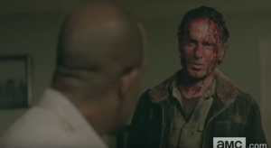 In the next shot, we see Rick, face still bloody, tell Morgan,