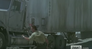 Not heeding any whiny protests, Rick-In-Charge jumps down off the big rig, screams again,