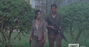 ...as Rosita and Spencer, armed with rifles, patrol the ground level...