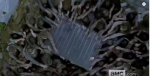 Walkers swarm around a metal dumpster, or container box...presumably someone has taken cover in there.