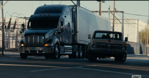 (truck horn blares)