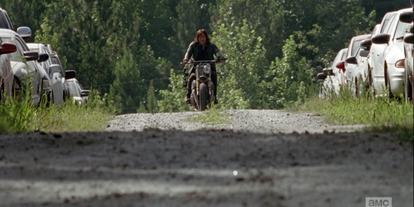 ...Daryl, who coasts slowly on his motorcycle, coming up over the hill. We do not see the massive horde of walkers just a few feet behind him, yet, but we hear their savage caucophony grow louder and louder as Daryl rolls closer. Always putting himself at the greatest risk for the good of all. How we love thee, Daryl Dixon! <3
