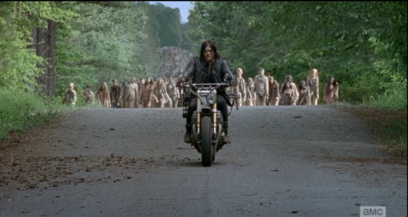 Watching this scene, I found myself wondering what Daryl would be thinking about, riding for all that time with thousands of walkers snarling on his tail, just a few yards behind him. I thought that he would be thinking of Beth, either reliving those sweet, stolen moments with her, or perhaps creating a fantasy world of the two of them, together, to help him escape the hellish world all around him.