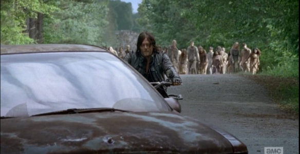 Sasha and Abraham meet up with Daryl in the Astoundingly Ugly Car.