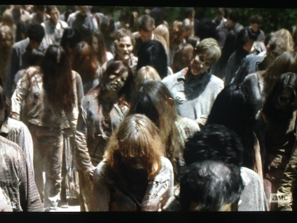 The scene shifts back to the present, with the grisly walker parade shuffling down the road, led by Daryl, Sasha, and Abraham.