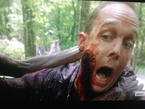 Ethan Embry did such a great job as Carter, who was a major tool, and a whiner, but who started coming around, and then got face-chomped just as he was getting cool. I award Ethan Embry, the TWD fan who finally landed a role on TWD, with a very special Deadie: The Red Shirt Guy Deadie, for being so fun, and such a good sport. Kudos, bud. You're awesome!