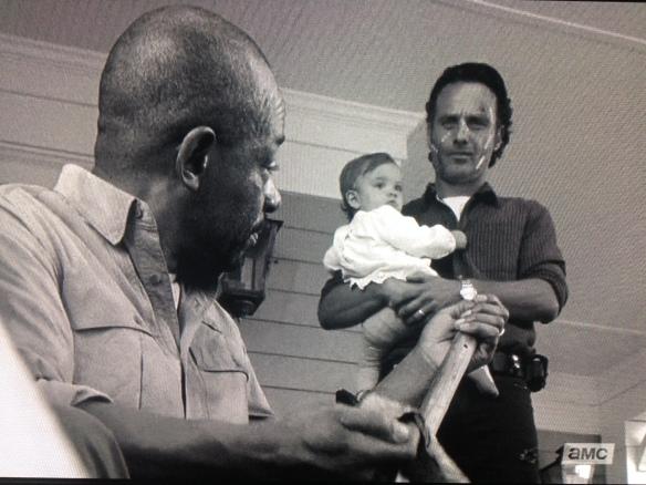Rick reaches in his pocket, tosses Morgan a key, tells Morgan he should go get his stuff.