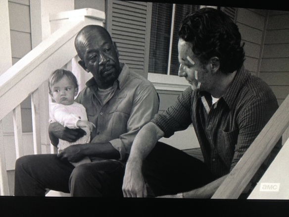 Morgan turns to Rick and tells him that when he saw Rick with that man, Carter, in the armory,