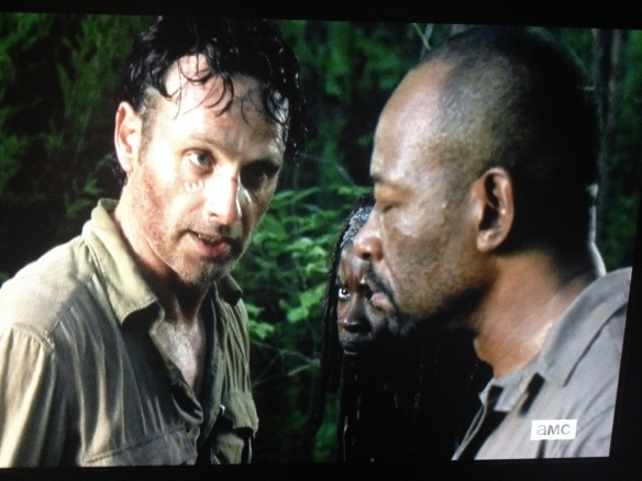 Rick comes to Morgan, and it's basically back to business, because it has to be. They need to make sure those walkers make it to the point where Daryl, Sasha, and Abraham continue on with the herd, draw them out 20 miles. Rick tells Morgan to go and tell the others, that they need to know about Carter. Morgan tries to tell Rick something, but Rick shuts it down. It's irella.