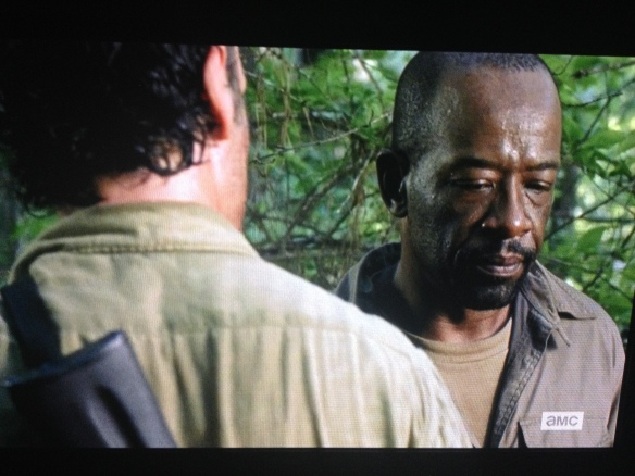 Rick asks Morgan if he can do as he asks, and Morgan quietly agrees. Rick leaves, onto the next.