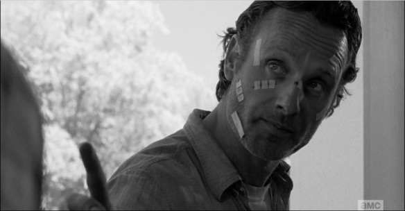 Rick Grimes shuts down Carter's whining by telling him that he, Carter, a.k.a. Construction Dick, better help make sure that barrier holds against the walkers.