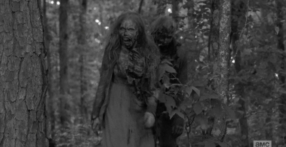 And, case in point, the Perfect Timing Walkers make their appearance through the woods, coming towards Carter and others.