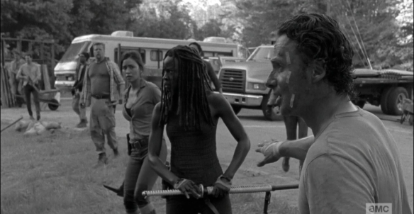 Rick tells them to use their shovels, that guns will draw too much attention from other nearby walkers.