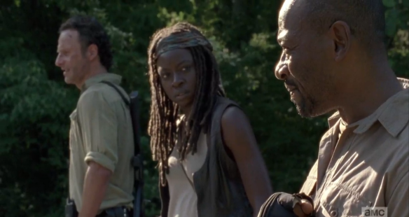 As they stand there, Michonne looks over at Morgan, as if waiting for him to say something, and he does.